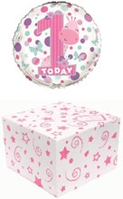 """Round 18"""" 1st Birthday Foil Helium Balloon In Box - Pink Age 1 Girl"""