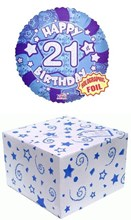 "Round 18"" 21st Birthday Foil Helium Balloon In Box - Age 21 Male Blue Stars"