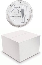 """Round 18"""" 25th Anniversary Foil Helium Balloon In Box - Silver Champagne Flutes"""