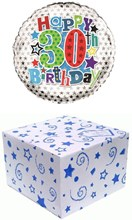 """Round 18"""" 30th Birthday Foil Helium Balloon In Box - Age 30 Male Blue Stars"""