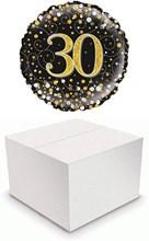 "Round 18"" 30th Birthday Foil Helium Balloon In Box - Age 30 Unisex Black & Gold"
