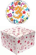 "Round 18"" 3rd Birthday Foil Helium Balloon In Box - Age 3 Unisex Bright Stars"