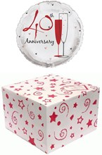 """Round 18"""" 40th Anniversary Foil Helium Balloon In Box - Ruby Champagne Flutes"""