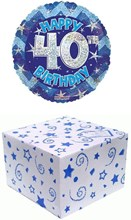 """Round 18"""" 40th Birthday Foil Helium Balloon In Box - Age 40 Male Blue Stars"""