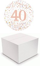 """Round 18"""" 40th Birthday Foil Helium Balloon In Box - Age 40 Silver & Rose Gold"""