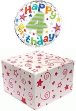 "Round 18"" 4th Birthday Foil Helium Balloon In Box - Age 4 Unisex Bright Stars"