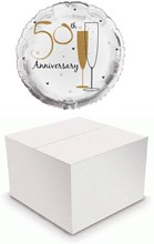 """Round 18"""" 50th Anniversary Foil Helium Balloon In Box - Golden Champagne Flutes"""