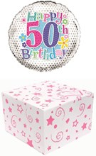 """Round 18"""" 50th Birthday Foil Helium Balloon In Box - Age 50 Female Flowers"""
