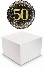 "Round 18"" 50th Birthday Foil Helium Balloon In Box - Age 50 Unisex Black & Gold"