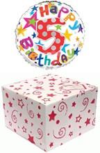 "Round 18"" 5th Birthday Foil Helium Balloon In Box - Age 5 Unisex Bright Stars"