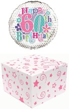 """Round 18"""" 60th Birthday Foil Helium Balloon In Box -Age 60 Female Silver Flowers"""