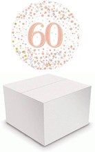 """Round 18"""" 60th Birthday Foil Helium Balloon In Box - Age 60 Silver & Rose Gold"""