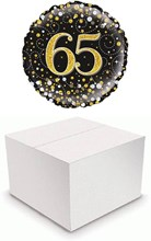 "Round 18"" 65th Birthday Foil Helium Balloon In Box - Age 65 Black & Gold"