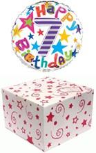 "Round 18"" 7th Birthday Foil Helium Balloon In Box - Age 7 Unisex Bright Stars"