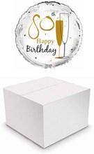 "Round 18"" 80th Birthday Foil Helium Balloon In Box - Age 80 Unisex Gold Flutes"