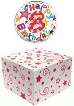 "Round 18"" 8th Birthday Foil Helium Balloon In Box - Age 8 Unisex Bright Stars"