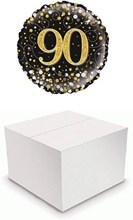 "Round 18"" 90th Birthday Foil Helium Balloon In Box - Age 90 Unisex Black Gold"