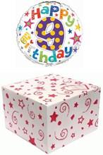"Round 18"" 9th Birthday Foil Helium Balloon In Box - Age 9 Unisex Bright Stars"