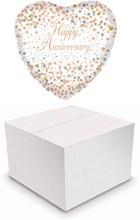 "Heart 18"" Anniversary Foil Helium Balloon In Box - White Silver & Gold Heart"