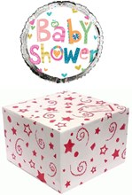 """Round 18"""" Baby Shower Foil Helium Balloon In Box - Bright Text, Hearts & Spots"""