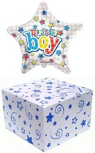 "Star 18"" Happy Birthday Foil Helium Balloon In Box - Birthday Boy Bright Stars"