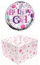 "18"" Happy Birthday Foil Helium Balloon In Box - Birthday Girl Pink & Silver"