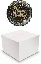 "Round 18"" Happy Birthday Foil Helium Balloon In Box - Black Silver & Gold"