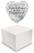 """Heart 18"""" Engagement Foil Helium Balloon In Box - Silver with White Hearts"""