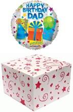 "Round 18"" Happy Birthday Dad Foil Helium Balloon In Box- Party Hat Balloon Gift"
