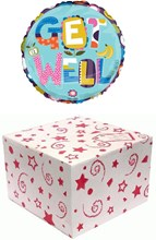 """Round 18"""" Get Well Soon Foil Helium Balloon In Box - Bright Text, Flower & Fruit"""
