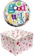 """Round 18"""" Good Luck Foil Helium Balloon In Box - Bright Smiley Faces & Stars"""