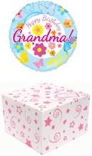 "Round 18"" Happy Birthday Grandma Foil Helium Balloon In Box -Butterflies Flowers"