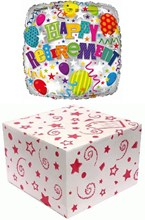 """Square 18"""" Retirement Foil Helium Balloon In Box - Balloons, Streamers & Stars"""