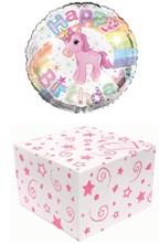 "Round 18"" Happy Birthday Foil Helium Balloon In Box - Unicorn and Rainbow"