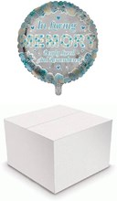 """Round 18"""" Loving Memory Balloon In Box - Blue & White Roses & Hearts"""