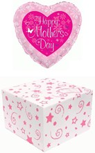 "Heart 18"" Happy Mother's Day Foil Helium Balloon In Box - Pink Flowers Butterfly"