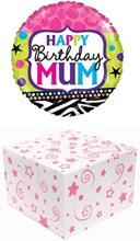 """Round 18"""" Happy Birthday Mum Foil Helium Balloon In Box -  Happy Birthday Mum"""