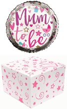 """Round 18"""" Mum To Be Foil Helium Balloon In Box - Bottle, Dummy, Letters & Stars"""