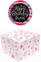 """Round 18"""" Happy Birthday Sister Foil Helium Balloon In Box - Striped Pattern"""