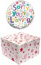 """Round 18"""" Sorry You're Leaving Foil Helium Balloon In Box -Multi coloured Stars"""