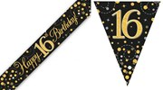 Party Banner & Bunting Black & Gold Holographic - Happy 16th Birthday