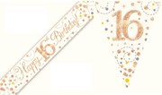 Party Banner & Bunting White & Rose Gold Holographic - Happy 16th Birthday