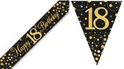 Party Banner & Bunting Black & Gold Holographic - Happy 18th Birthday