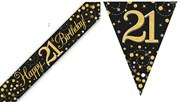 Party Banner & Bunting Black & Gold Holographic - Happy 21st Birthday