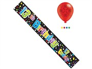 Age 13 Boy Birthday Foil Party Banner & Balloons -  13th Birthday 13 Today