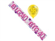 Age 40 Female Birthday Foil Party Banner & Balloons - Big 40