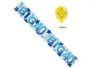 Age 40 Male Birthday Foil Party Banner & Balloons - Big 40