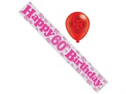Age 60 Female Birthday Foil Party Banner & Balloons - Happy 60th Birthday