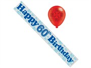 Age 60 Male Birthday Foil Party Banner & Balloons - Happy 60th Birthday