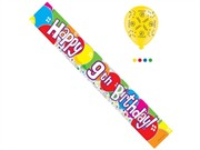 Age 9 Unisex Happy Birthday Foil Party Banner & Balloons - Happy 9th Birthday